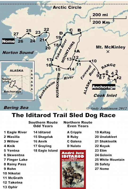 Complimentary screen-friendly map from IDITAROD by Andre Jute