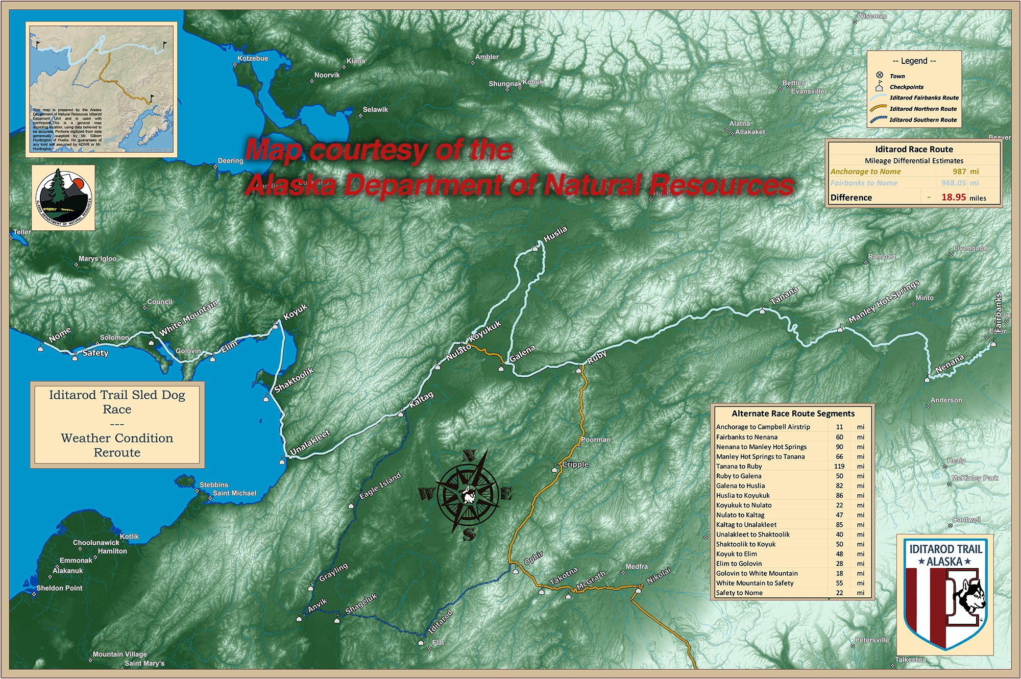 Iditarod Trail Sled Dog Race Map 2015